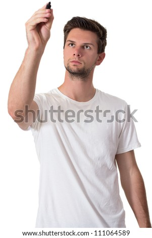 Young man with white t-shirt writing with permanent marker - stock photo