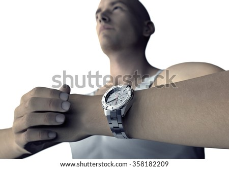 young man with wristwatch ready to go.