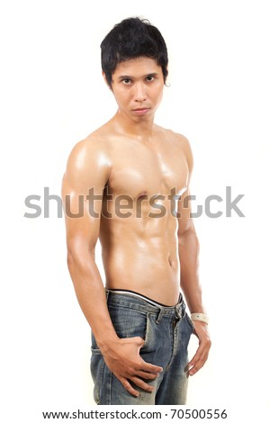 young man without clothes showing his body muscle - stock photo