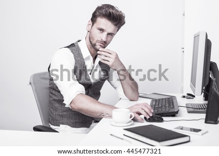 Young man working in the office