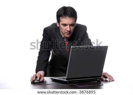 young man working with his personal computer