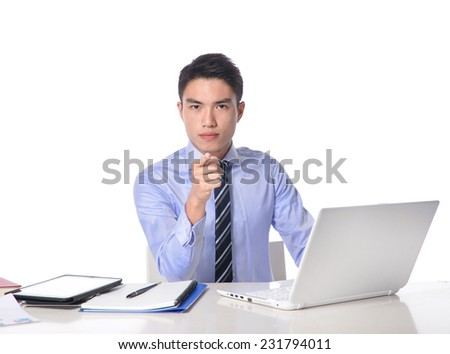 young man working with his personal computer with hands gesture  - stock photo