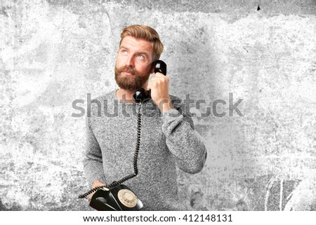 young man worried expression - stock photo