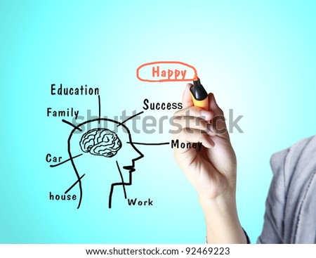 Young man writing a study on the screen - stock photo