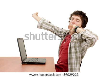 Young man yawning - stock photo