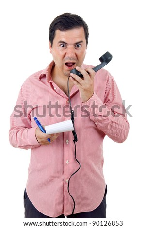young man yelling at the phone, isolated on white