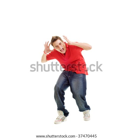 young man yelling. isolated on white - stock photo