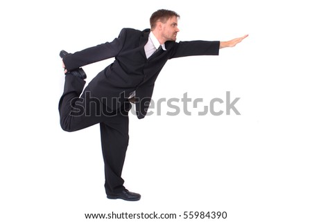 young manager and yoga posa - stock photo