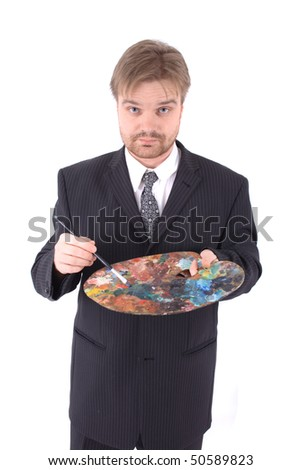 young manager as artist - stock photo