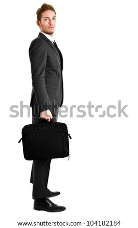 Young manager full length isolated on white holding a briefcase