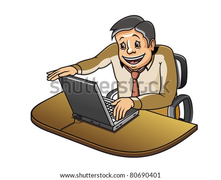 Young manager in office working on computer. Vector version also available in gallery