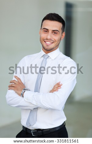Young manager outdoor - stock photo