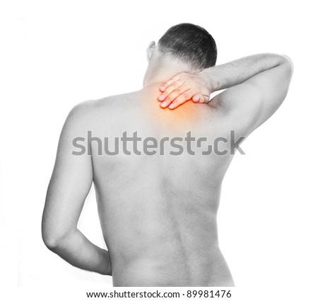 Young manhaving back pain - stock photo