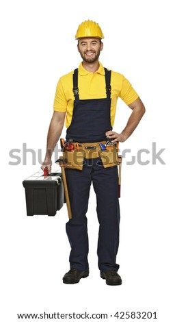 young manual worker with tool box isolated on white background - stock photo