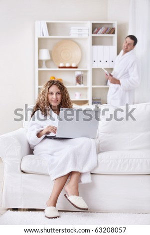 Young married couple in the morning at home - stock photo