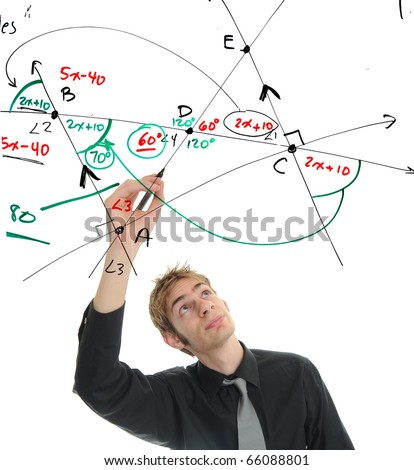 Young mathematician figures out a math problem on the whiteboard using geometry and algebra. - stock photo