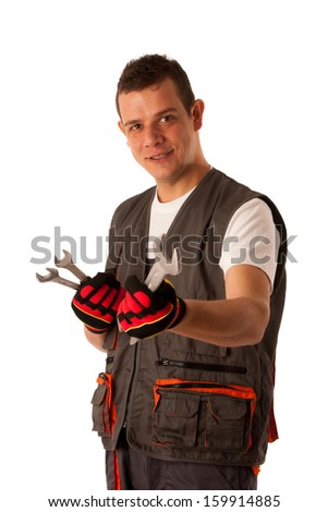 Young mechanic isolated over white background