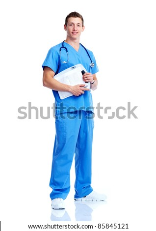 Young medical doctor man. Isolated over white background.