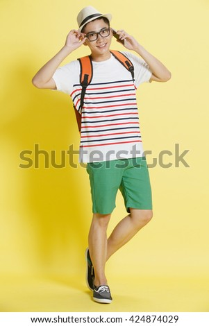 Young men call - stock photo