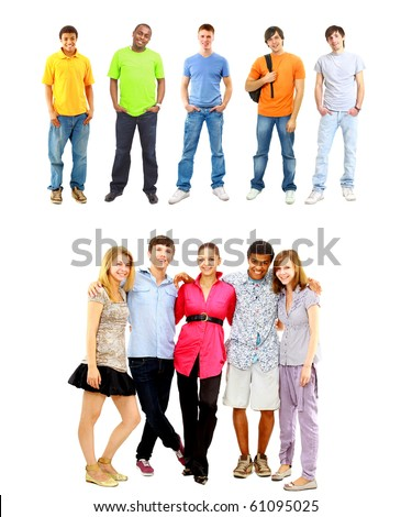 young men. collection - stock photo