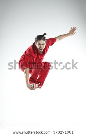 Young men dancer doing jumps and difficult elements