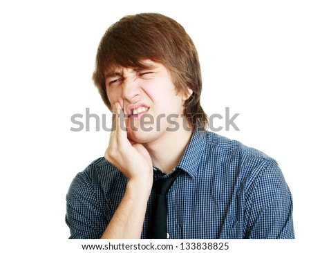 Young men in tooth pain  Studio photography Isolated - stock photo
