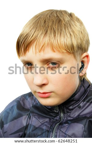 Young men listen to the music. Isolated on the white background - stock photo