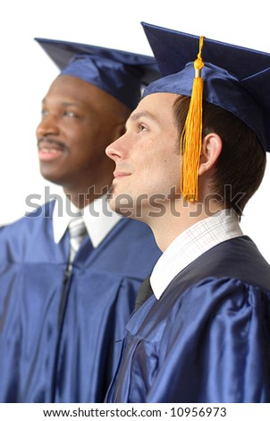 Young men listening during graduation; isolated on white - stock photo