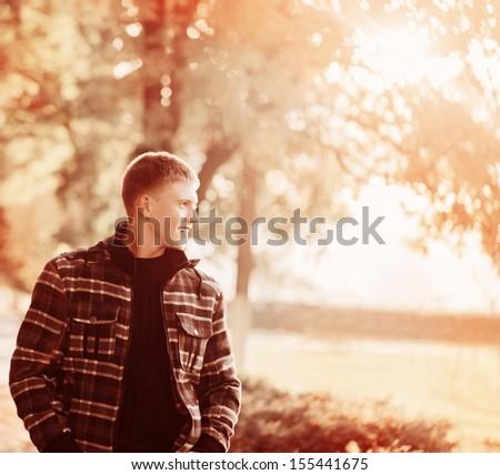 young men outdoor - stock photo