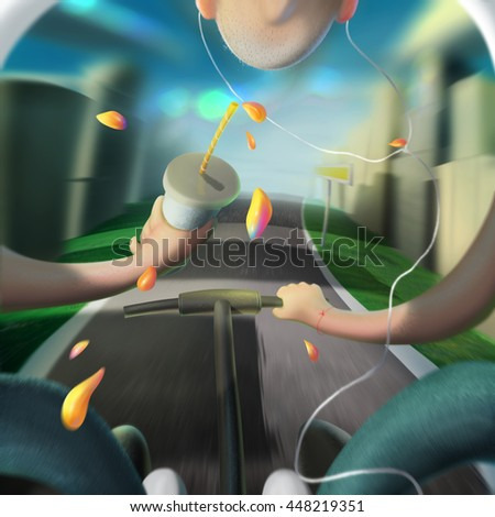 Young men sunny day city illustration - stock photo