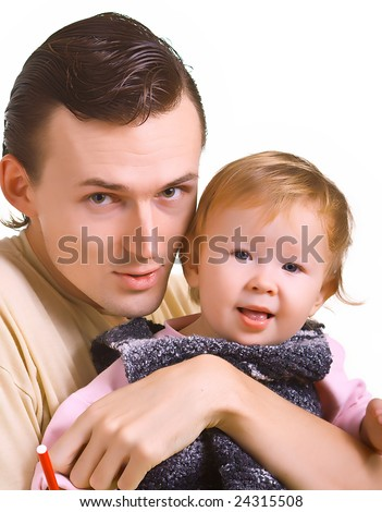 Young men with a little child on hands. Isolation on a white background