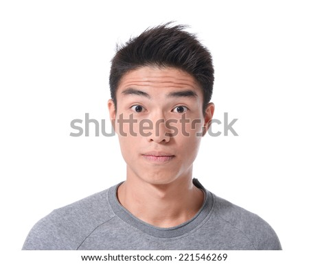 young men with facial expression. Studio shot - stock photo