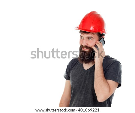 Young men with hipster look and red helmet looking the mobile isolated on white background