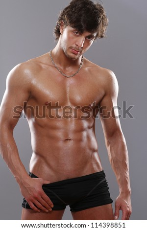 young men with sexy body - stock photo