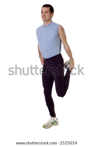 young men working out on white background
