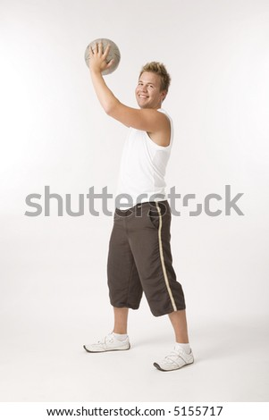 young men working out on white background - stock photo