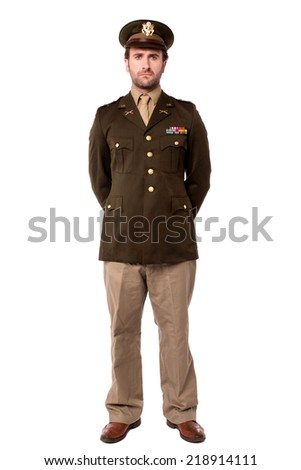 Young military officer posing to the camera - stock photo