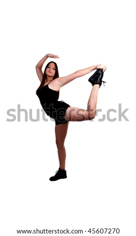 Young mixed ethnic teen girl in stretch pose
