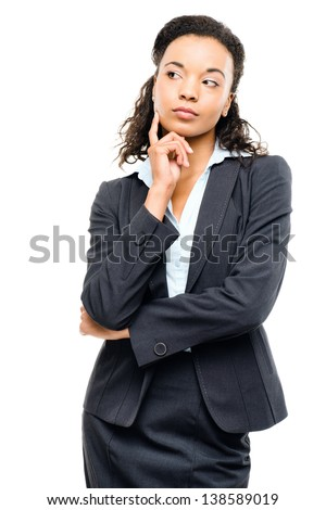 Young mixed race businesswoman thinking isolated on white background
