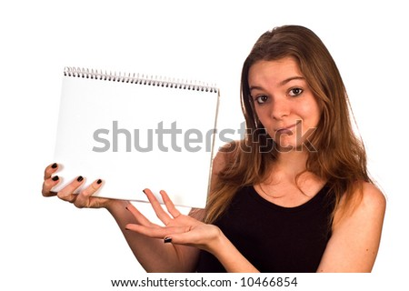 Young model holding a blank pad of paper, isolated against white