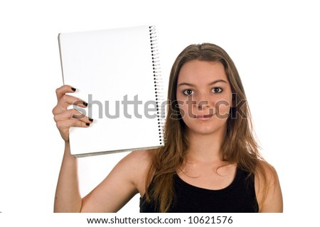 Young model holding a blank pad of paper, isolated against white with clipping path