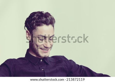 Young model in the studio - stock photo