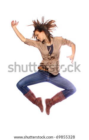 Young model jumping and posing - stock photo