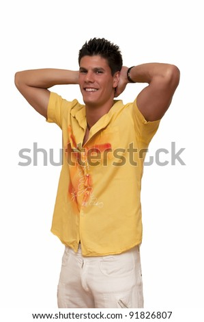 young model photographed with his hands clasped behind her head - stock photo