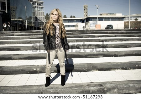 young model posing on stairs