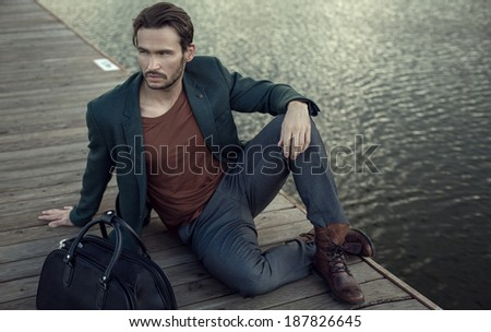 Young model resting - stock photo