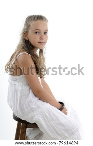 young model resting on chair