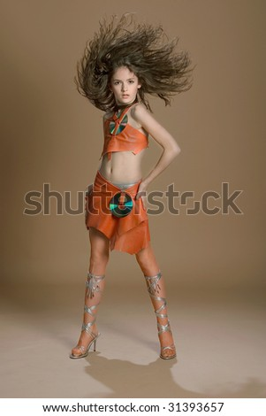 Young model with a flying hair - stock photo