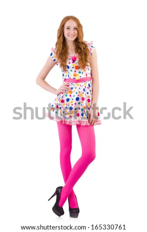 Young model with pink stockings on white - stock photo