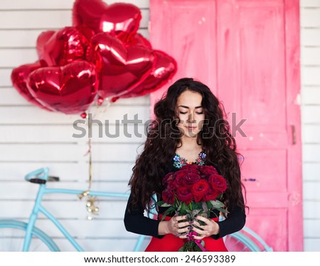 Young model woman smile with balloons - stock photo